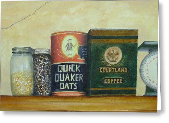 Quaker Paintings Greeting Cards - Grandmas Cupboard Greeting Card by Elizabeth Crabtree