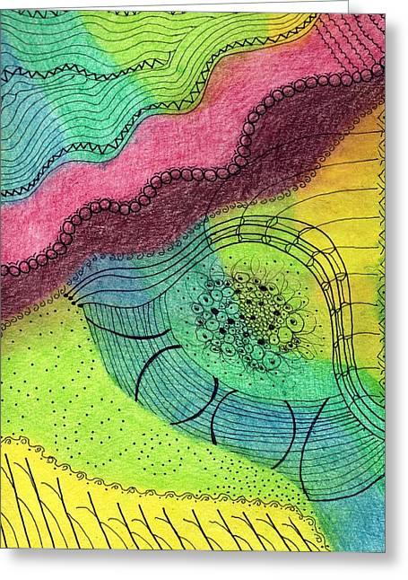 Cornfield Mixed Media Greeting Cards - Grandmas Garden Greeting Card by Lesa Weller