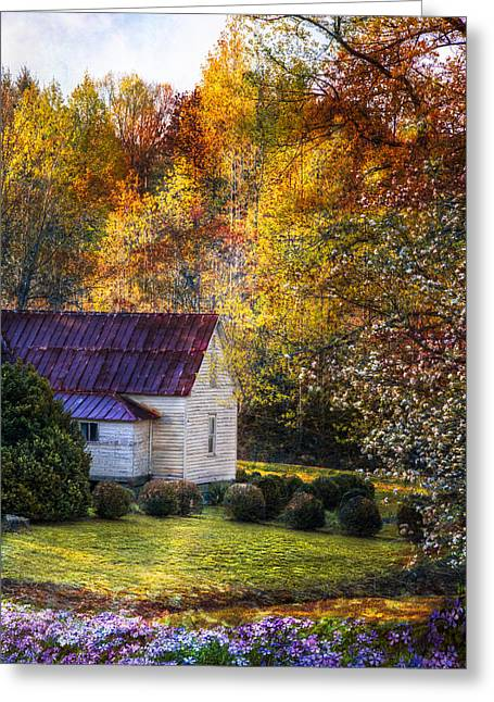 Mountain Cabin Greeting Cards - Grandmas House Greeting Card by Debra and Dave Vanderlaan