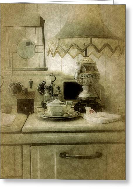Reminiscent Greeting Cards - Grandmas Kitchen Greeting Card by Bonnie Bruno