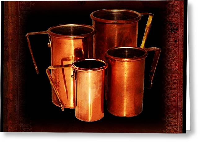 Grandma's Kitchen-copper Measuring Cups Greeting Card by Ellen Cannon