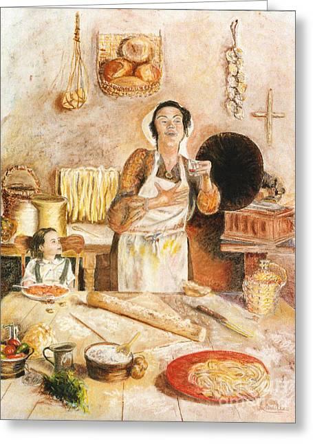 Italian Kitchen Pastels Greeting Cards - Grandmas Kitchen Greeting Card by Lisa Pastille