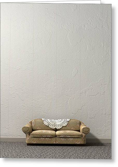 Doily Greeting Cards - Grandmas Lonely Sofa Greeting Card by Allan Swart