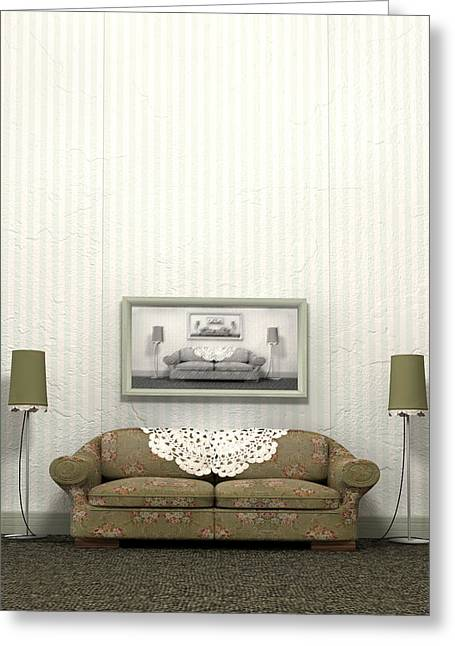 Doily Greeting Cards - Grandmas Old Sofa Greeting Card by Allan Swart