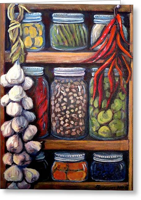 Green Beans Paintings Greeting Cards - Grandmas Pantry Greeting Card by Gretchen Allen