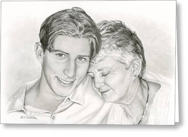 Photo-realism Greeting Cards - Grandmother And Grandson Greeting Card by Sarah Batalka