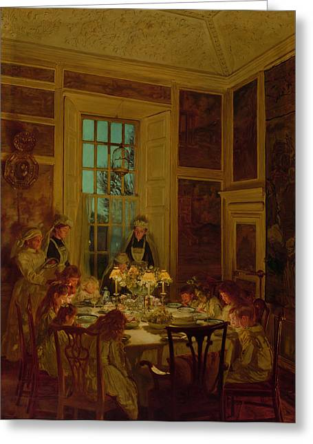 Saying Greeting Cards - Grandmothers Birthday, 1893 Oil On Canvas Greeting Card by John Henry Lorimer