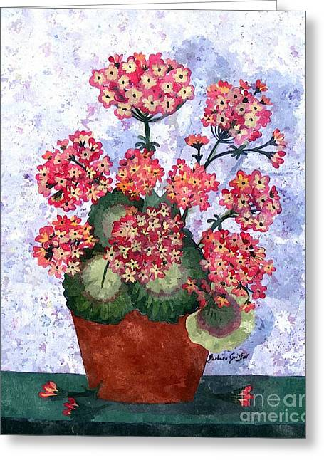 Red Geraniums Greeting Cards - Grandmothers Geraniums in Watercolor Greeting Card by Barbara Griffin