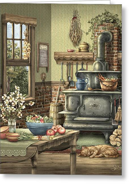 Old Stove Greeting Cards - Grandmothers Kitchen Greeting Card by Beverly Levi-Parker