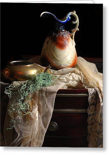 Still Life With Pitcher Greeting Cards - Grandmothers Lace Cloth Greeting Card by Diana Angstadt