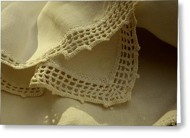 Handwork Greeting Cards - Grandmothers Linen  Greeting Card by Ann Powell