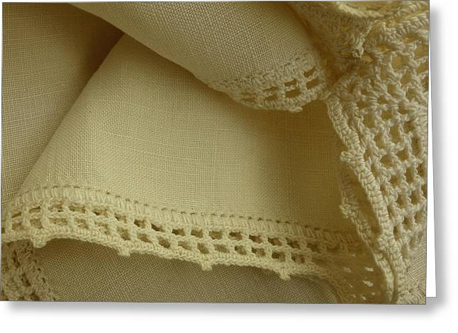 Handwork Greeting Cards - Grandmothers Linen II Greeting Card by Ann Powell