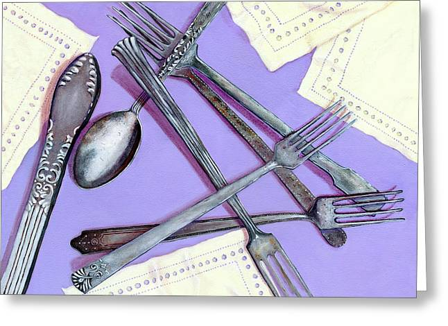 Old Objects Paintings Greeting Cards - Grandmothers Silver Greeting Card by Karyn Robinson