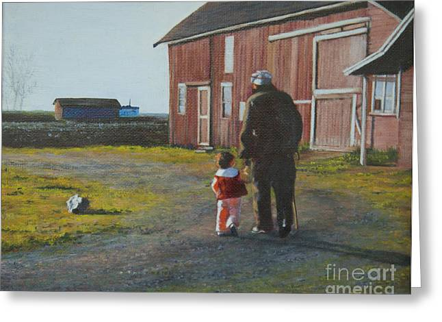 Toddlers Poster Greeting Cards - Grandpa and Me Greeting Card by Jeanette French
