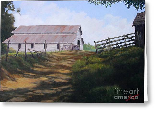 Tin Roof Paintings Greeting Cards - Grandpa Blanchards Hay Barn Greeting Card by Charles Fennen