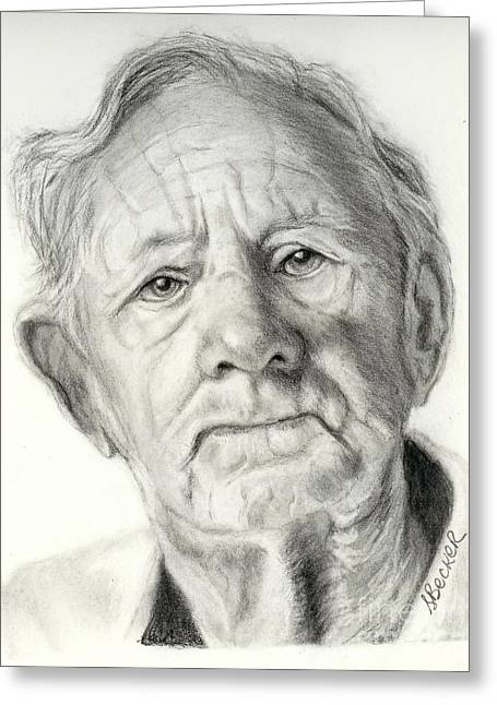 Charcoal Portrait Greeting Cards - Grandpa Full of Grace Drawing Greeting Card by Susan A Becker