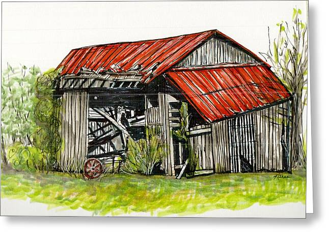 Barn Pen And Ink Drawings Greeting Cards - Grandpas Barn Greeting Card by Karen Wilson