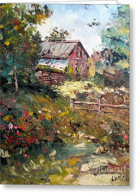 Lee Piper Art Greeting Cards - Grandpas Barn Greeting Card by Lee Piper