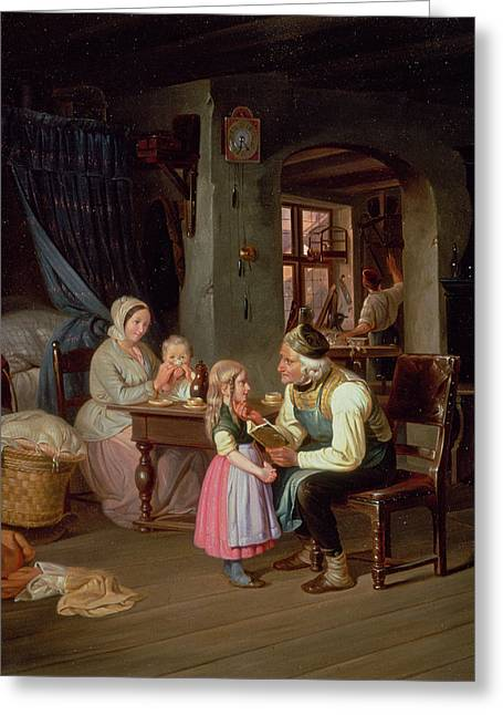 Domestic Scene Greeting Cards - Grandpas Favourite Oil On Canvas Greeting Card by Friedrich Edouard Meyerheim