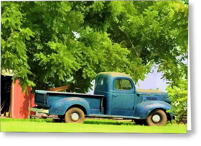 Tennessee Farm Digital Greeting Cards - Grandpas Old Blue Work Truck Greeting Card by Jan Amiss Photography