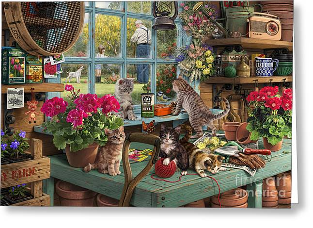 Shed Greeting Cards - Grandpas Potting Shed Greeting Card by Steve Read