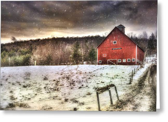 Red Barn In Winter Greeting Cards - Grand View Farm - Vermont Red Barn Greeting Card by Joann Vitali