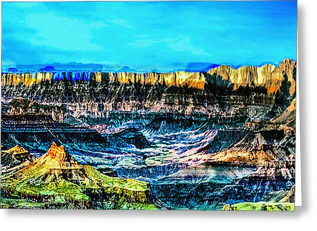 The Plateaus Digital Art Greeting Cards - GrandView viewpoint Grand Canyon Greeting Card by  Bob and Nadine Johnston