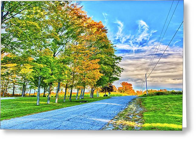 Rural Maine Roads Digital Art Greeting Cards - Granger Color Greeting Card by Gregory W Leary