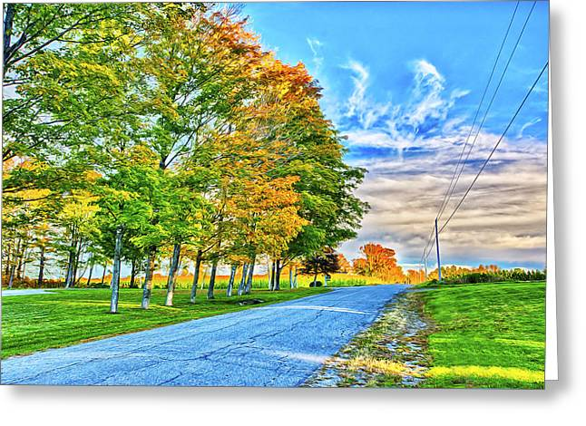 Rural Maine Roads Greeting Cards - Granger Color Greeting Card by Gregory W Leary