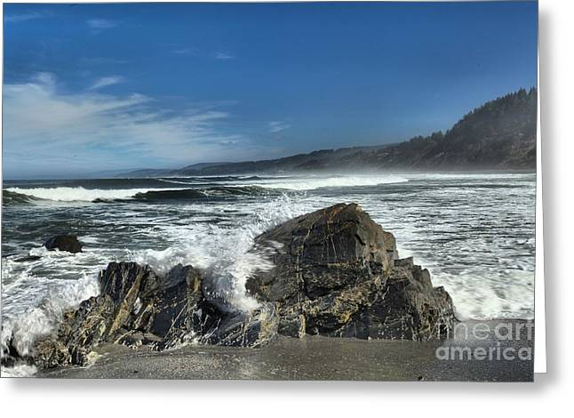Northern California Beaches Greeting Cards - Granite Breakers Greeting Card by Adam Jewell