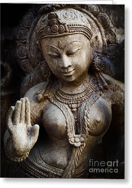 Hinduism Greeting Cards - Granite Indian Goddess Greeting Card by Tim Gainey
