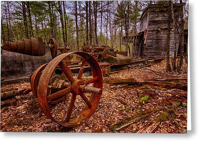 Granite Lathe Abandoned Redstone Quarry Conway Nh Greeting Card by Jeff Sinon