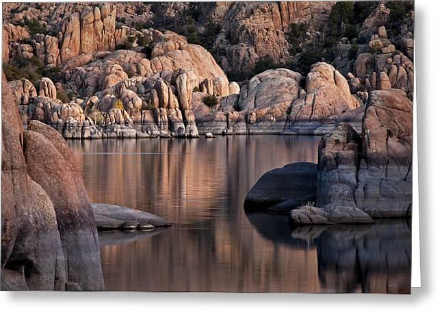 Watson Lake Greeting Cards - Granite Reflections Greeting Card by Mark Baldwin