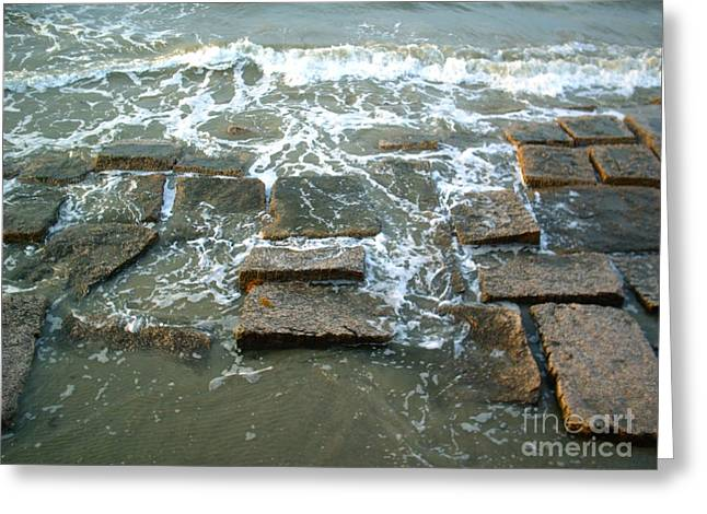 Galveston Greeting Cards - Granite Shores Greeting Card by Audrey Van Tassell