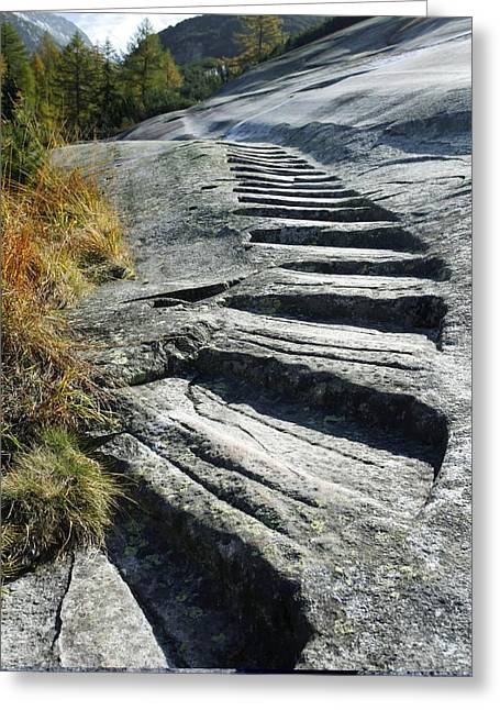 Swiss Culture Greeting Cards - Granite steps, Switzerland Greeting Card by Science Photo Library