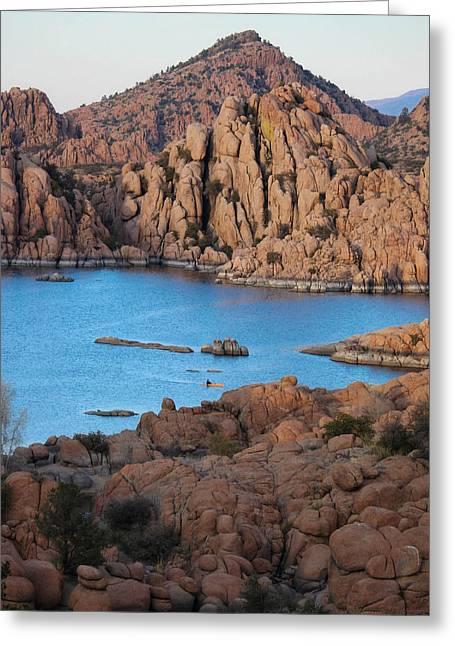 Watson Lake Greeting Cards - Granite Sunset Colors Greeting Card by Aaron Burrows