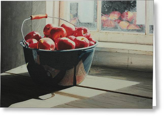 Light And Shadow Greeting Cards - Graniteware Apples Greeting Card by Nancy Teague