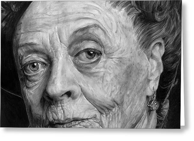 Hyperrealism Drawings Greeting Cards - Grannies 12#05. Maggie Smith Greeting Card by Arual Jay