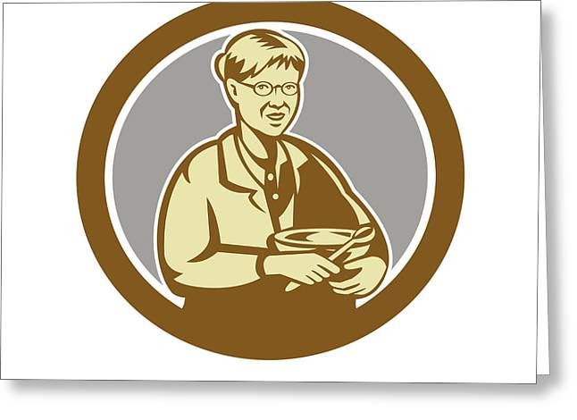 Granny Greeting Cards - Granny Cook Mixing Bowl Oval Retro Greeting Card by Aloysius Patrimonio