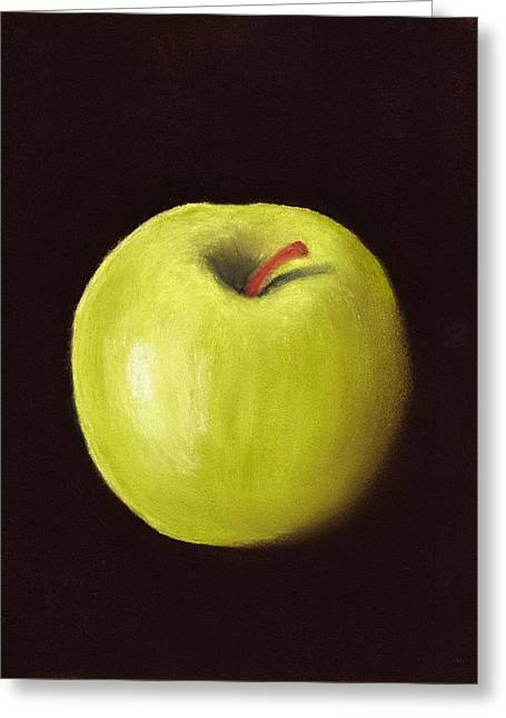 Interior Still Life Pastels Greeting Cards - Granny Smith Apple Greeting Card by Anastasiya Malakhova