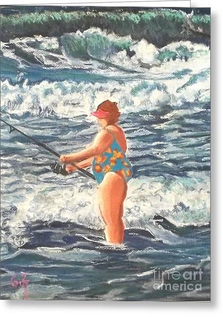 Granny Surf Fishing Greeting Card by Frank Giordano