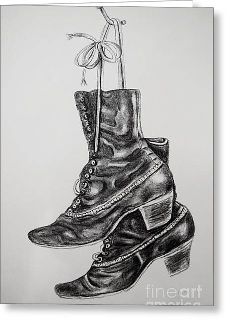 Black Boots Drawings Greeting Cards - Grannys Boots Greeting Card by Josie Duff