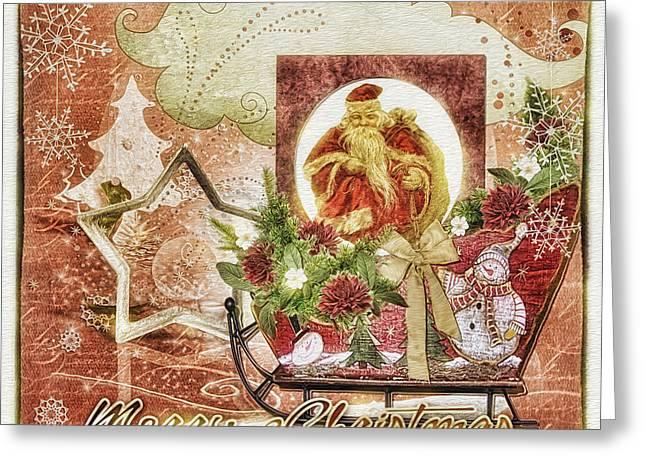 Xmas Mixed Media Greeting Cards - Grannys Christmas Greeting Card by Mo T