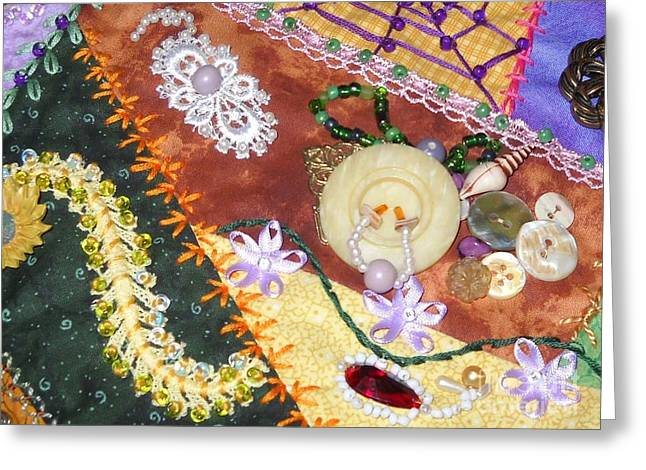 Crazy Quilt Greeting Cards - Grannys Crazy Quilt Greeting Card by Paula Talbert
