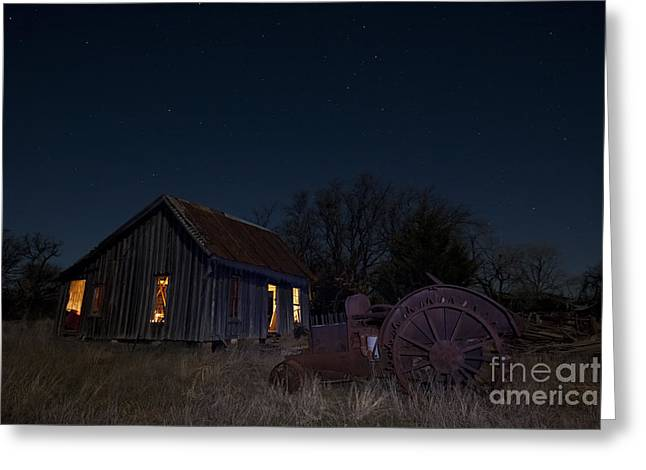 Night Photography Greeting Cards - Grannys Old Farm Greeting Card by Keith Kapple