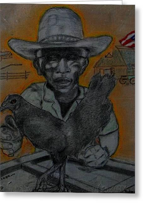 Puerto Rico Mixed Media Greeting Cards - Granpas Cocker Greeting Card by Ismael Alicea-Santiago