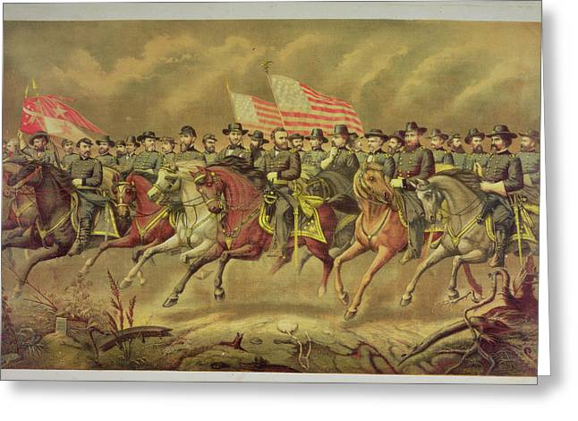 Republican Greeting Cards - Grant And His Officers Colour Litho Greeting Card by E. Boell