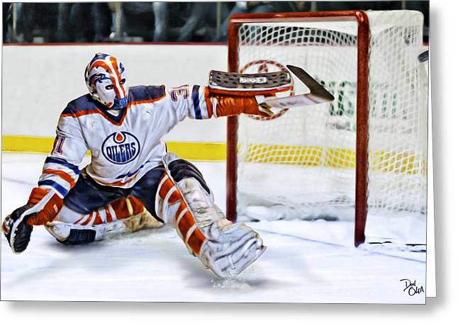 Reebok Greeting Cards - Grant Fuhr Greeting Card by Don Olea