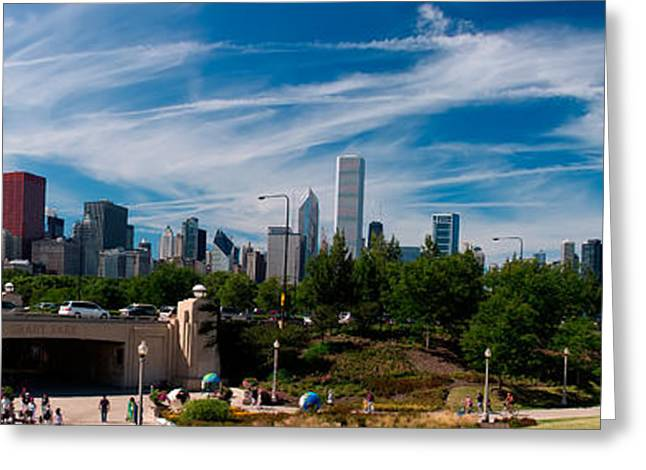 Millennium Park Greeting Cards - Grant Park Chicago Skyline Panoramic Greeting Card by Adam Romanowicz