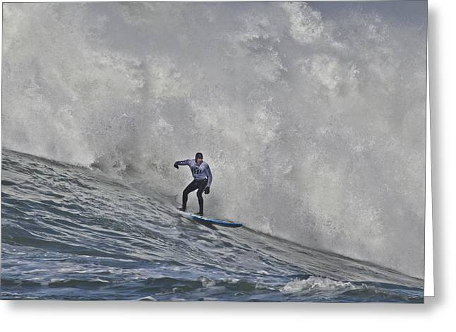 Surfing Contest Greeting Cards - Grant Washburn Racing For His Life At Mavericks Greeting Card by Scott Lenhart